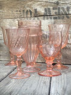 Pink Glassware for your special event! Mintage Rentals has modern + vintage rentals for staging and special events.