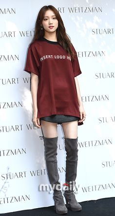 Airport -- Lee Sung-Kyung -- T-shirt -- Leather Skirt Korean Fashion Kpop, Kpop Fashion Outfits, Korean Fashion Trends, Korean Street Fashion, Korean Actresses, Korean Actors, Eddy Kim, Jong Hyuk, Weightlifting Fairy Kim Bok Joo