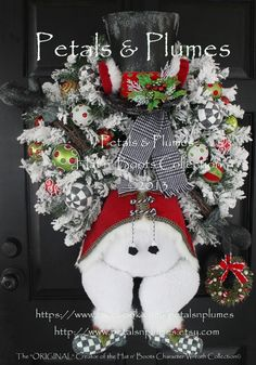 """Snowman Wreath-Christmas Wreath- """"Mr Frost'icles the Snowman""""  Petals & Plumes Hat n' Boots Character Wreath Collection©2013"""