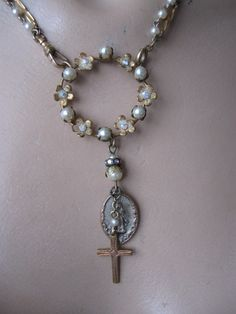 Canticle ... antique and vintage repurposed rosary necklace