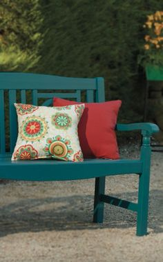 I love the color of this bench. Adds a little pop to the yard!
