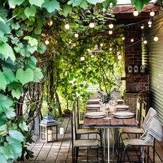 Pergola Ideas For Small Backyards Outdoor Party Lighting, String Lights Outdoor, Pergola Lighting, Lighting Ideas, Paved Patio, Cottage Garden Plants, Boho Home, Pergola Shade, Pergola Plans