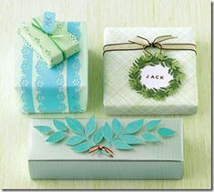 Holiday gift wrap. Love the green textured box - upper right