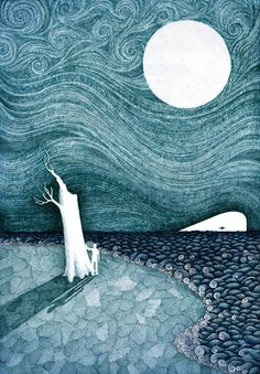 This is a Lithograph print of my original illustration 'Stories From The Shore' done in Ballpoint. Litho printed on fine archive paper. Art And Illustration, Book Illustrations, Litho Print, Collage, Art Graphique, Moon Art, Stars And Moon, Ciel, Art Boards