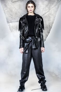ALMAZ is a Romanian based womenswear brand founded in 2014 by creative duo Andra Olaru & Stefana Maior. Leather Sleeves, Leather Pants, Lace Jacket, Women Wear, Trousers, Book, Jackets, Style, Fashion