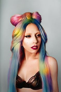 Gagas rocken the rianbow hair