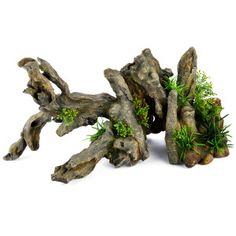 "Top Fin X-Large Driftwood with Plants Aquarium Ornament  $ 64.99  Dimensions: 21""W x 7.5"" D x 10"" H"