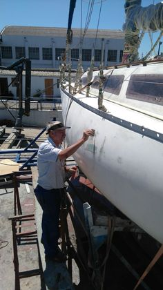 Preparing for the big paint job.  At Royal Cape Yacht Club, Cape Town