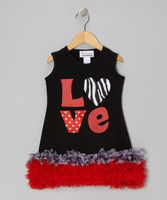 Take a look at this Black Zebra 'Love' Ruffle Dress - Infant, Toddler & Girls by The Princess and the Prince on #zulily today!