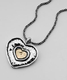 SHABLOOL ISRAEL Handmade 925 Sterling Silver and 9k Gold Heart Necklace