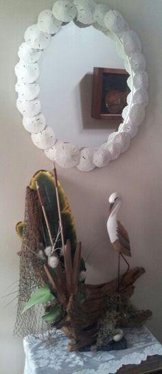 Driftwood piece and sanddollar mirror