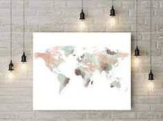 World Map Print Watercolor Travel Map Large World Map World Map - Big world map for wall