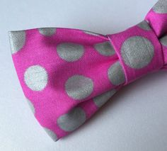 Hot Pink Bow tie Silver Metallic Bow tie by FlyTiesforFlyGuys Polka Dot Bow Tie, Pink Bow Tie, Polka Dots, Silver Bow Tie, Bow Ties, Hot Pink, Metallic, Bows, Prom