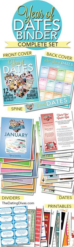 Year of Dates Binder- just print, and stick in a binder.  The PERFECT gift for the hubby.  OR for a wedding/ bridal shower.