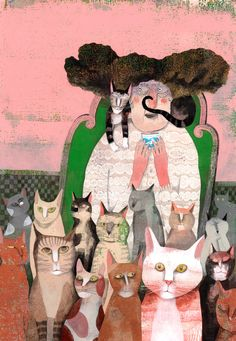 Rion, Cat Art, Paper Art, Paintings, Illustrations, Cats, Papercraft, Gatos, Paint