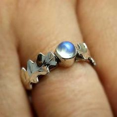 Rainbow Moonstone And Oak Leaves Sterling Silver by SylphSilver, £50.00