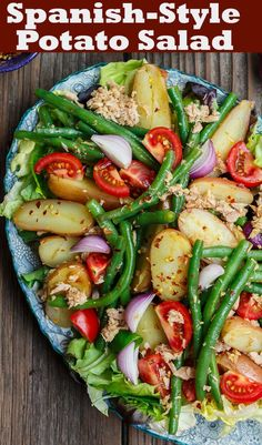 flavor-packed Spanish Potato Salad recipe with tuna, green beans and tom. Bright, flavor-packed Spanish Potato Salad recipe with tuna, green beans and tom. Mediterranean Diet Recipes, Mediterranean Dishes, Mediterranean Tuna Salad, Spanish Potato Salad Recipe, Spanish Salad, Spanish Potatoes, Vegetarian Recipes, Cooking Recipes, Tasty Salad Recipes