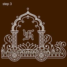 This page provides Bengali Alpana Designs with title Ratham Rangoli 16 for Hindu festivals. Indian Traditional Paintings, Indian Art Paintings, Traditional Art, Worli Painting, Fabric Painting, Canvas Painting Designs, Madhubani Art, Madhubani Painting, Beautiful Rangoli Designs