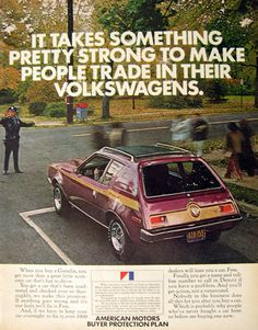 1972 AMC Gremlin Car Ad ~ Handel mit einem Volkswagen – Jane Lerch – Join in the world of pin Amc Gremlin, Volkswagen, Vintage Advertisements, Vintage Ads, Vintage Iron, Vintage Stuff, Jeep, American Motors, Car Advertising