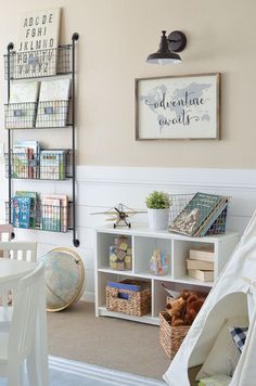 Adorable farmhouse style decor in kid's playroom. Adorable farmhouse style decor in kid's playroom. Playroom Design, Playroom Decor, Small Playroom, Modern Playroom, Boys Playroom Ideas, Basement Ideas, Wall Decor Kids Room, Vintage Playroom, Vintage Airplane Nursery