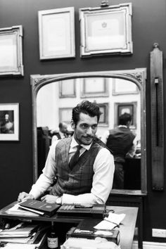 David Gandy at Henry Poole, Savile Row, London.  Photographed by Andy Barnham