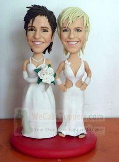 Custom lesbian/same sex wedding cake toppers