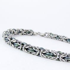 Chainmaille Bracelet - Green Titanium - Byzantine Pattern, via Etsy.