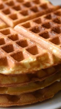 Light and Crispy Waffles is part of Crispy waffle - This is the best waffle recipe! Learn our secrets for making crispy, homemade waffles with chewy middles Recipe and quick video is included Best Waffle Recipe, Waffle Maker Recipes, Best Belgian Waffle Recipe, Waffle Cone Recipe, Breakfast Dishes, Breakfast Recipes, Dessert Recipes, Breakfast Waffles, Mexican Breakfast