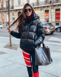 Image may contain: 1 person, standing and outdoor Down Suit, Down Puffer Coat, Black Down, Puffy Jacket, Jacket Style, Cool Girl, Jackets For Women, Winter Jackets, 21st Century