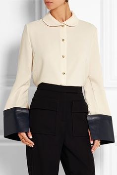 J.W.Anderson | Leather-trimmed crepe shirt | NET-A-PORTER.COM