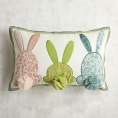 Pier 1 Imports Three Bunny Tails Lumbar Pillow (€28) ❤ liked on Polyvore featuring home, home decor, throw pillows, rabbit home decor, spring home decor, spring throw pillows, rabbit throw pillow and bunny home decor