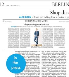 """Fair-a-porter in the press – Tagesspiegel""""Shop for a clean conscience""""2015 started nicley with this feature by Bettina Homann in daily newspaper Berliner """"Der Tagesspiegel"""". To read the full feature, click here!"""
