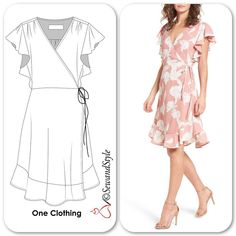 Best 12 Another summer favorite, ruffle wrap dress. Casual Dresses, Fashion Dresses, Summer Dresses, Costura Fashion, Wrap Clothing, Dress Drawing, Fashion Sewing, Dress Sewing Patterns, Sewing Clothes