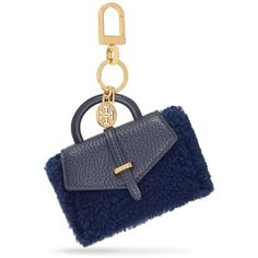 Tory Burch 797 Shearling Mini Bag Key Fob ($115) ❤ liked on Polyvore featuring accessories, navy blue, tory burch, tory burch key chain, mini key chain and fob key chain