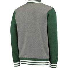 Michigan State Spartans Fanatics Branded Letterman Varsity Tri-Blend Jacket - Gray/Green