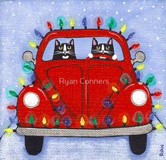Festive Lights Red Bug by Ryan Conners Christmas Cats, All Things Christmas, Vintage Christmas, Merry Christmas, Xmas, Christmas Lights, Crazy Cat Lady, Crazy Cats, Black Cat Art