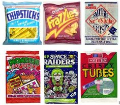 retro crisps - chipsticks, frazzles, salt n shake, monster munch, space raiders and tubes