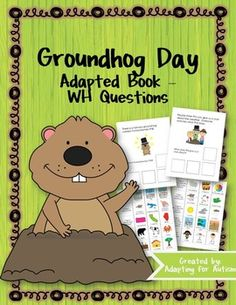 This 10 page adapted book helps students learn about Groundhog Day through WH questions. Each page includes 1-2 sentences of informational text and a corresponding WH question. Students choose the correct answer from a field of 3 cards with both words and a picture.Sample passages and WH questions:*Every February we celebrate Groundhog Day. [When is Groundhog Day?]*People think Phil can give us clues about the weather.