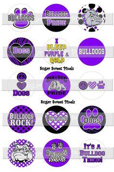 INSTANT DOWNLOAD Purple  Bulldogs School Mascot by sugarnspicebow