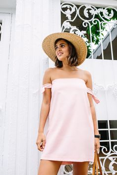 Check out this cute DIY Pink Off the Shoulder Dress with arm ties!