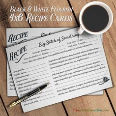 Flourish Black and White Simple Recipe Cards