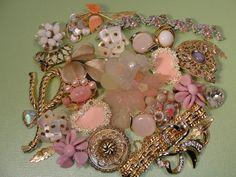 Vintage Jewerly Destash Crafting  Lot Brooch PINK Goldtone White Clip ons. $75.00, via Etsy.