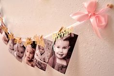 Pink and Gold First Birthday Decorations.   Ships in 2-5 Business Days.  12 Month Photo Banner.  First Birthday Garland.