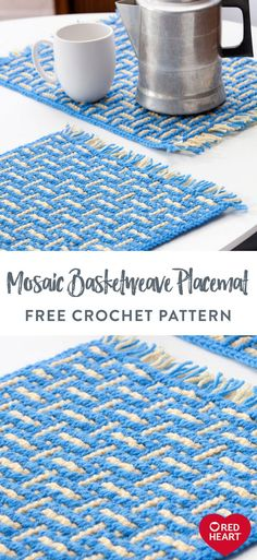 Yarnspirations is the spot to find countless free intermediate crochet patterns, including the Red Heart Mosaic Basketweave Placemat. Crochet Placemat Patterns, Crochet Doily Rug, Crochet Dishcloths, Crochet Stitches Patterns, Mosaic Patterns, Crochet Home, Crochet Crafts, Crochet Projects, Free Crochet
