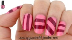 Nail Art : Stripes 3 ways | This time, I'm going to be showing you how do make stripes. And to do so, you can choose between 3 methods : tape, striper or making your own stickers !