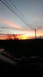 Lovely sunrise seen from the car