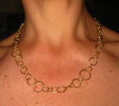 Solid 18k Yellow Gold Bubbles Chain Necklace by vixjewellery, $3600.00