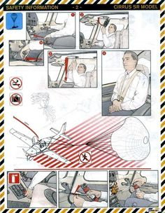 Unique safety card for the Cirrus with a Parachute for the  airplane when the engine quits.....