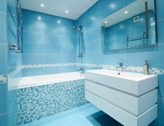 fog free shower mirror Bathroom Modern with bathroom bathroom mirror blue bathroom blue mosaic tile blue Blue Modern Bathrooms, Modern Luxury Bathroom, Blue Bathrooms Designs, Bathroom Design Luxury, Bathroom Interior, Modern Shower, Budget Bathroom, Bathroom Renovations, Small Bathroom