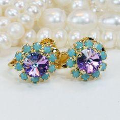 Flower Girl Clip Earrings Aqua Purple Swarovski Crystal Toddler Clip on earring Non Pierced Ears Flower Girl Gift,Gold,Vitrail Lite,GE116